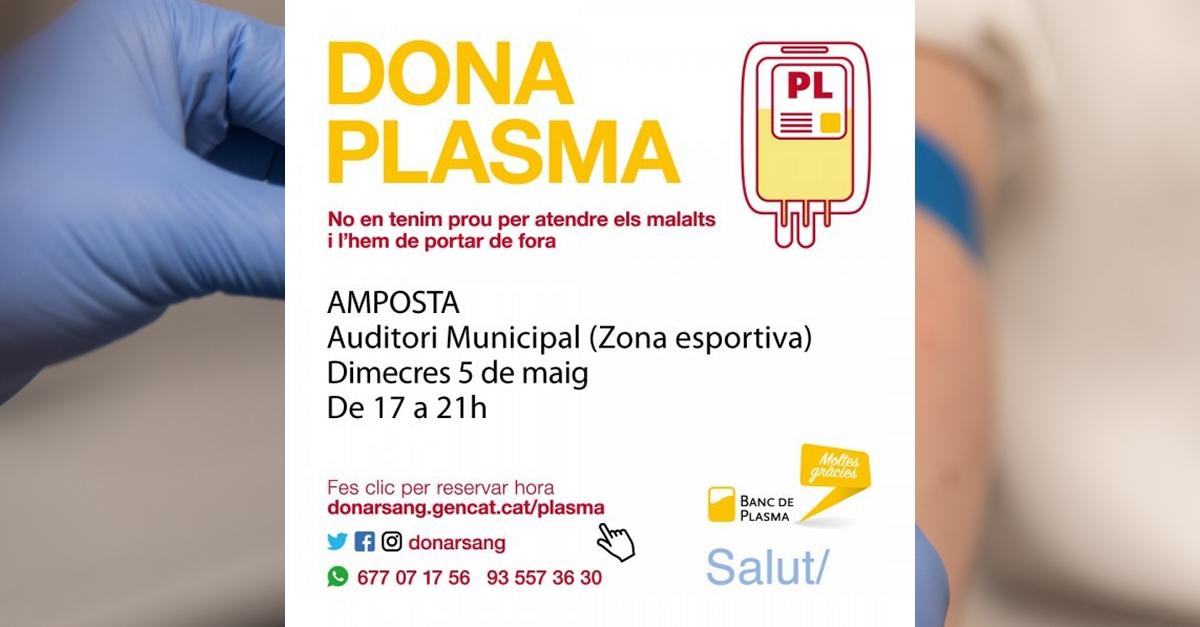 Amposta, el primer municipi de Tarragona amb una jornada de donació exclusiva de plasma | Amposta.info