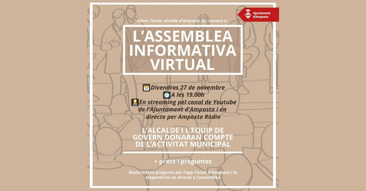 L'Assemblea Informativa sobre actualitat municipal tindrà format virtual | Amposta.info