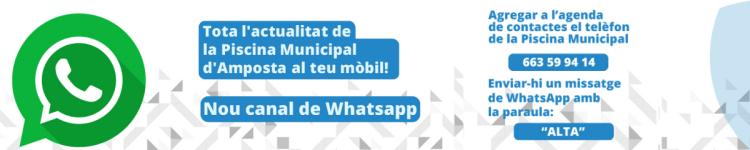 Nou canal de Whatsapp de la Piscina Municipal d'Amposta. nº 663 599 414