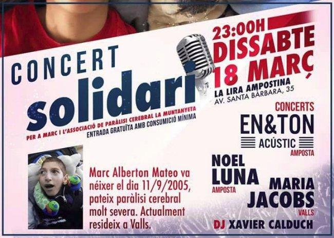 Concert solidari a benifici de Marc Alberton i l'Associació de Paràlisi Cerebral la Muntanyeta