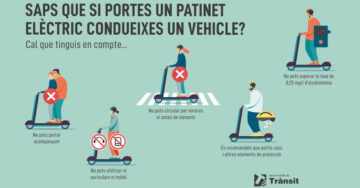 «Saps que si portes un patinet elèctric condueixes un vehicle?», nou material de conscienciació adreçat als joves