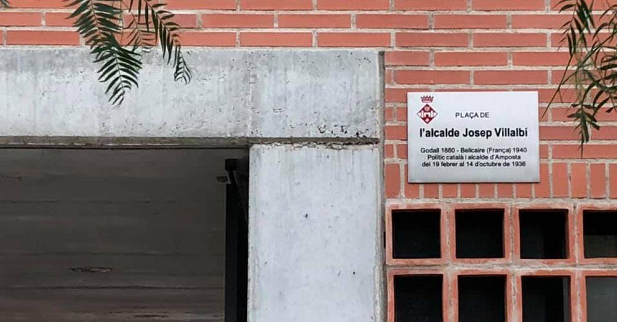 Amposta inaugura la plaça Josep Villalbí, últim alcalde democràtic abans de la Guerra Civil