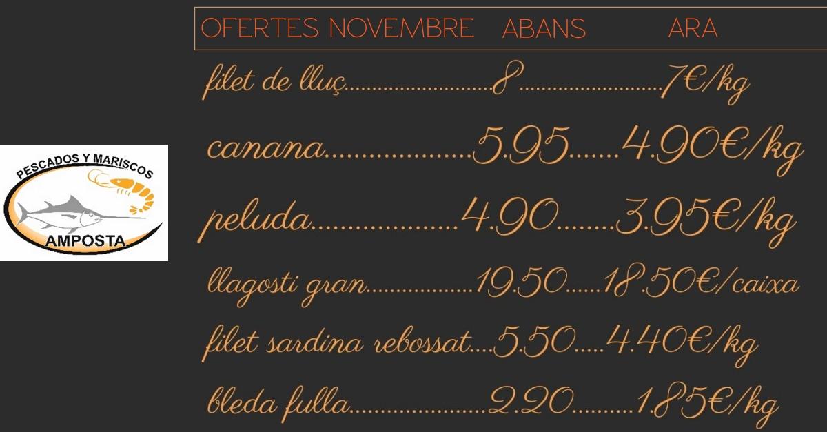 PESCADOS AMPOSTA: OFERTES NOVEMBRE 2020