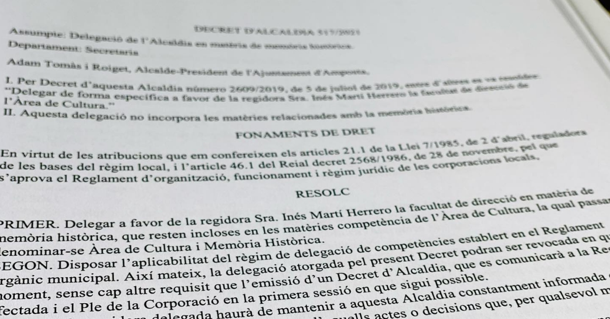 La regidoria de Cultura passa a denominar-se regidoria de Cultura i Memòria Històrica