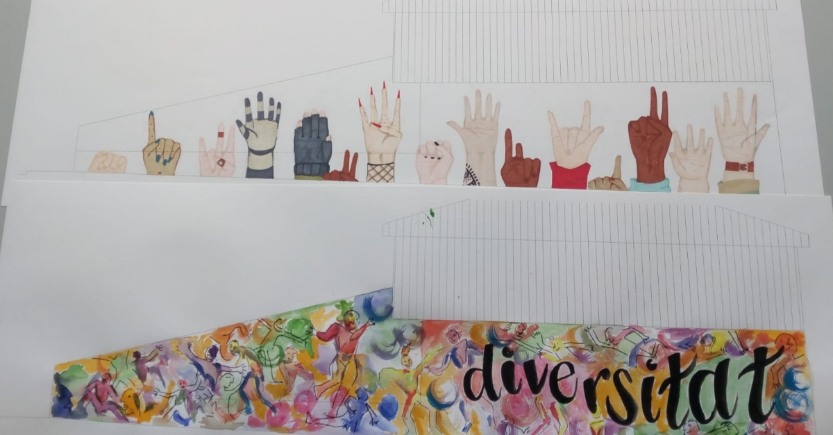 Sofia Cherta, guanyadora del Primer Concurs d'Art Mural Amposta Ciutat Diversa